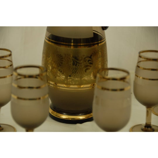 Bohemian Decanter Amber Frosted Glass Gold Paint Stopper and 6 Cordials For Sale - Image 4 of 6