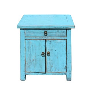 Oriental Distressed Light Aqua Blue Lacquer Side End Table Nightstand For Sale