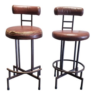 Vintage Mid Century Steel and Leather Barstools- A Pair For Sale