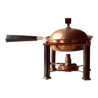 American Arts & Crafts Style Copper Chafing Dish For Sale