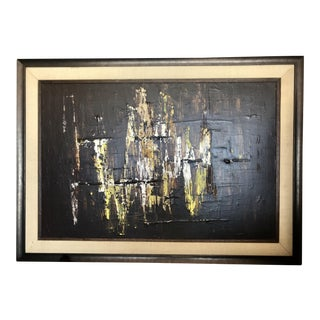 Vintage Mid-Century Impasto Abstract Framed Painting For Sale