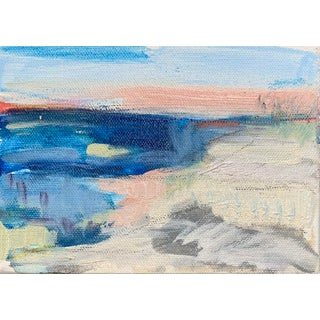 Ocean Landscape Ii, Contemporary Abstract Coastal Landscape Oil Painting For Sale