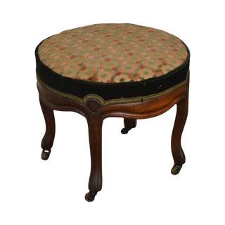 Victorian Antique Walnut - Round Footstool For Sale