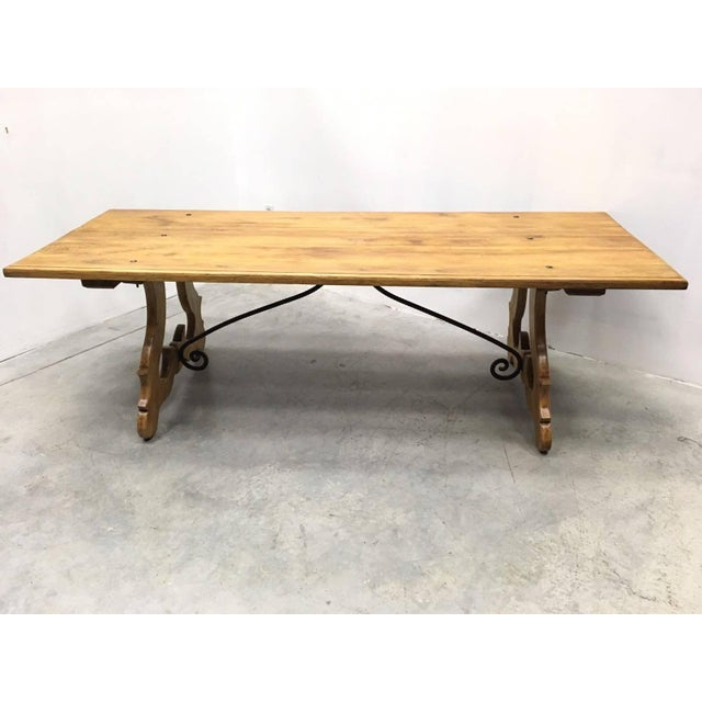 19th Century Spanish Farm Trestle Lyre Leg Dining Room Table With Forged Iron For Sale - Image 9 of 11