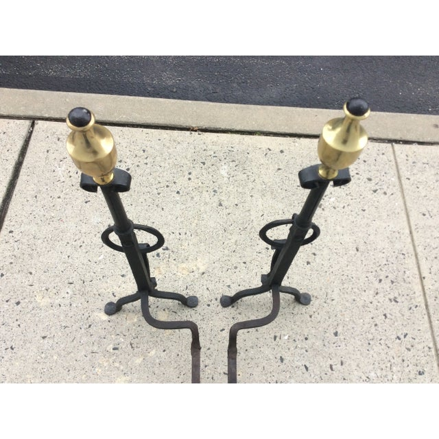 1800s Brass & Iron Andirons - A Pair - Image 8 of 8