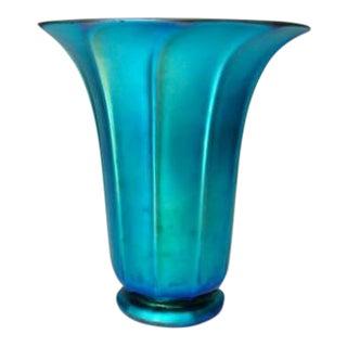 Early 20th Century Vintage Steuben Blue Aurene Shade Vase For Sale