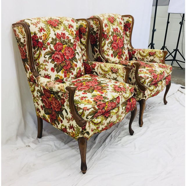 Vintage Floral Chintz Armchairs - A Pair For Sale In Raleigh - Image 6 of 11