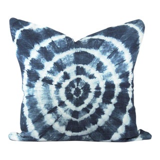 Blue Shibori African Mudcloth Pillow For Sale