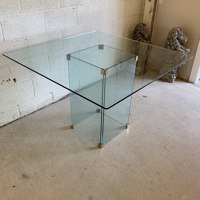 Contemporary Pace Collection Square Glass Dining Table For Sale - Image 3 of 11