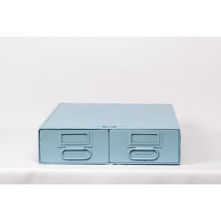 1940s Card Catalog File Drawers, Refinished in Sky Blue Preview