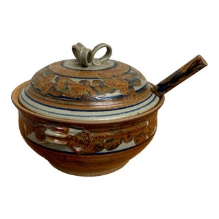 60's Stoneware Soup Tureen For Sale