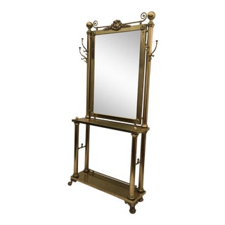 Neoclassical Brass Hall Mirror, Coat Hanger and Console Table For Sale