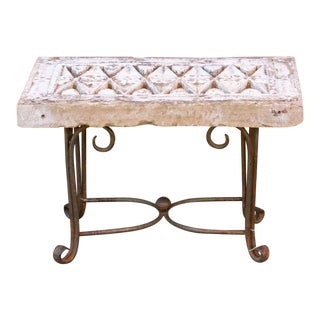Antique White Stone Jali Table For Sale