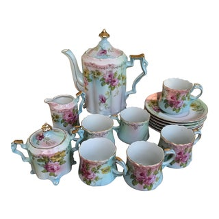 Antique Hand Painted Chocolate & Tea Set for 6 / 17 Pieces/Reduced Final For Sale