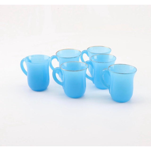 19th Century French Blue Opaline Glass Cups & Saucers With Serving Bowl & Dessert Bowl/ Plates - Set of 16 For Sale In Providence - Image 6 of 10