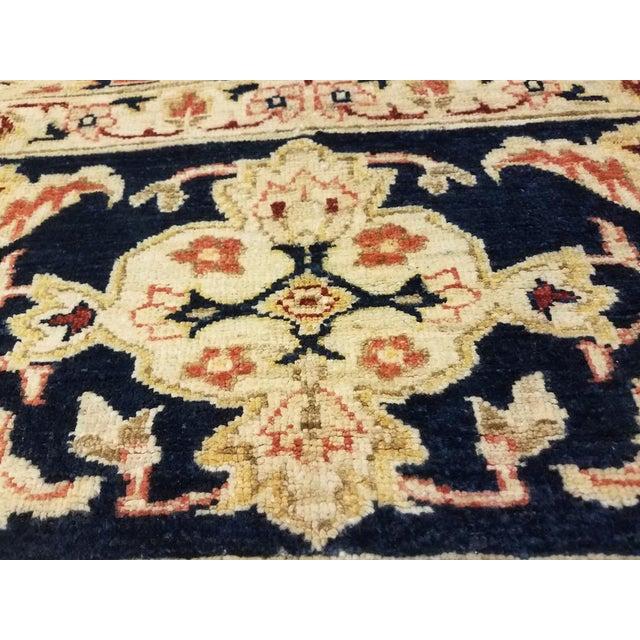 """Kafkaz Peshawar Risa Orange Blue Wool Rug - 9'2"""" x 11'10"""" For Sale - Image 4 of 8"""