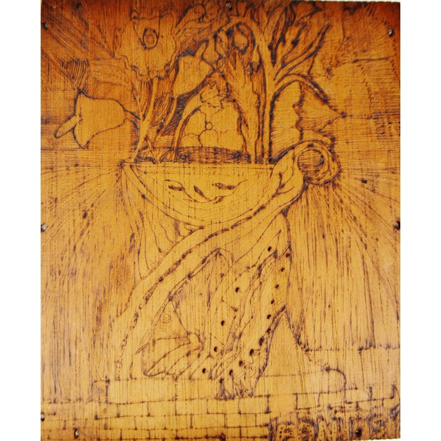 Wood Vintage Pyrography Floral Wall Art For Sale - Image 7 of 11