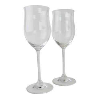Marquis by Waterford Tulip Shaped Wine Glasses - a Pair For Sale