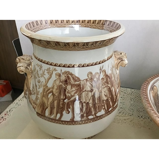 French 1800s Greek Roman Emperor Chamber Pot Pitcher Bathroom Set - 7 Pieces For Sale - Image 3 of 13