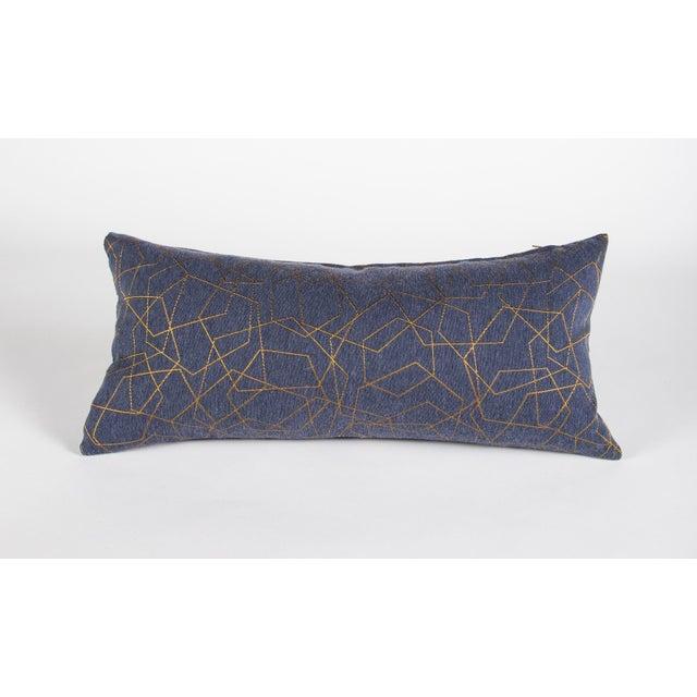 Textile Blue & Gold Hexagons Lumbar Pillow For Sale - Image 7 of 7