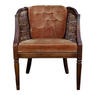 Sturdy Wood & Cane Chair with Velvet Upholstery
