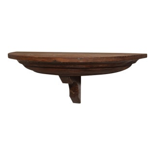 20th Century Arts and Crafts Wood Demi Lune Shelf For Sale