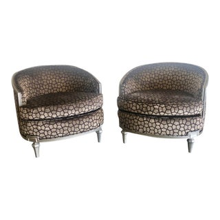 1940s Vintage Cut Velvet & Hand Painted Accent Chairs - a Pair For Sale