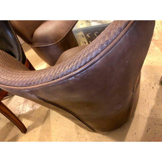 Pair of Woven Modern Leather Seat and Backrest Side Chairs in Brown For Sale - Image 4 of 7