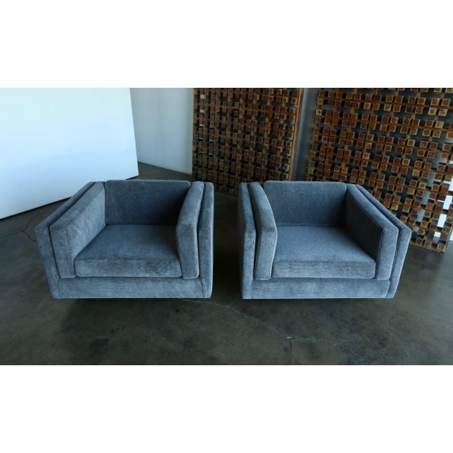 Mid-Century Modern 1960s Harvey Probber Grey Mohair Lounge Chairs - a Pair For Sale - Image 3 of 13
