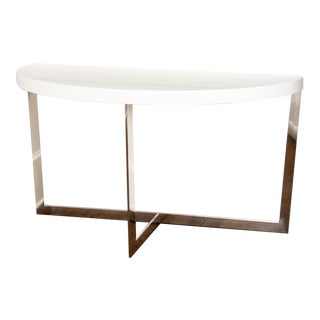 Contemporary Chrome and Acrylic Demilune Console Table For Sale