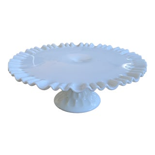 1950s Fenton Ruffled Milk Glass Cake Stand For Sale