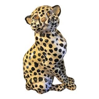 Mid Century Hollywood Regency Italian Ceramic Leopard Figurine For Sale