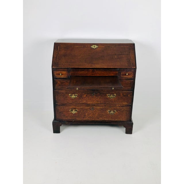 Wood Early Georgian English Oak Slant Front Desk, Circa 1740 For Sale - Image 7 of 11
