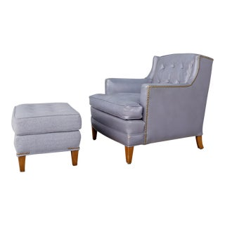 Distressed Lilac Leather Club Chair & Ottoman For Sale