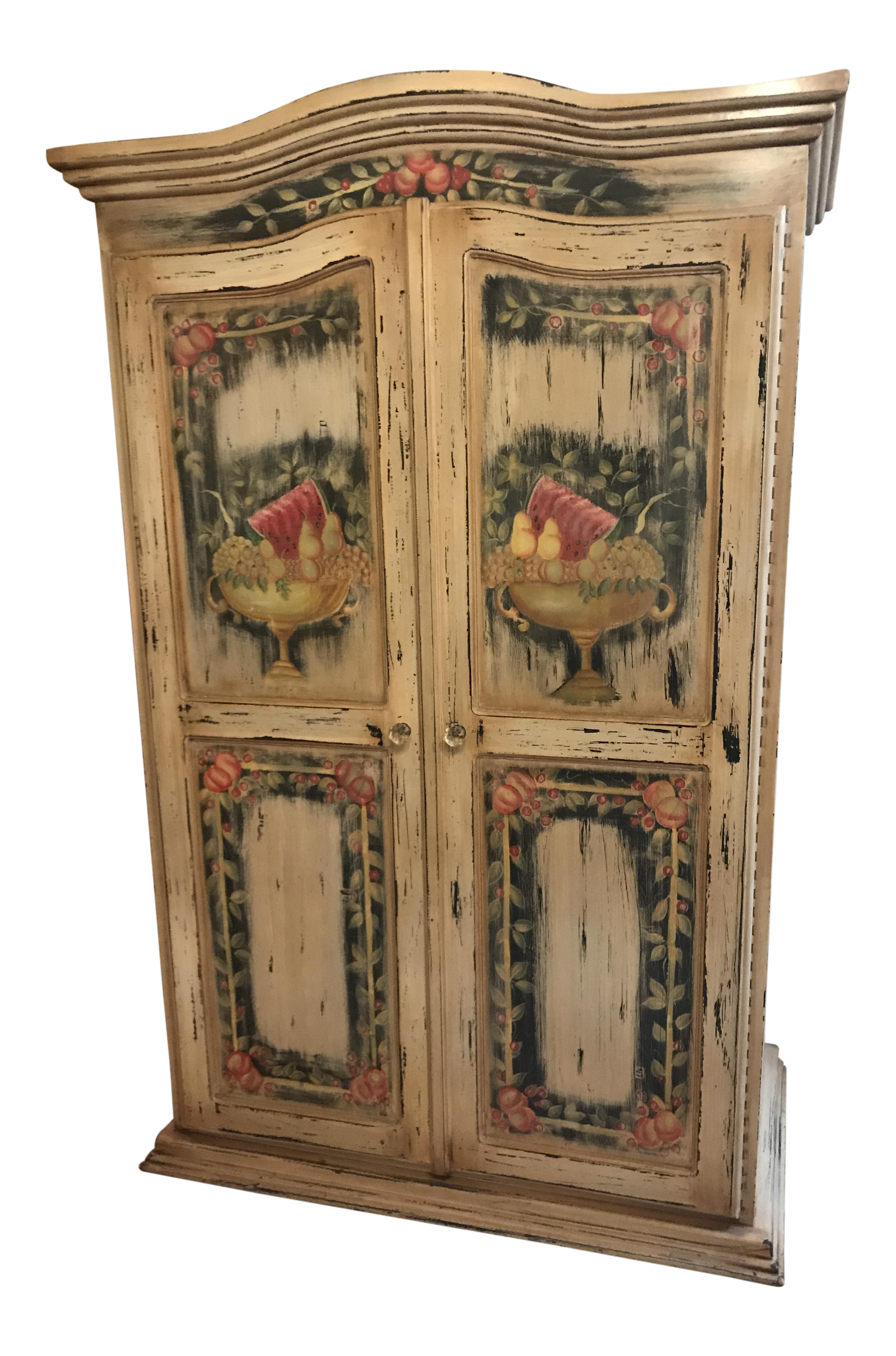 French Country Hand Painted Armoire   Image 1 Of 11