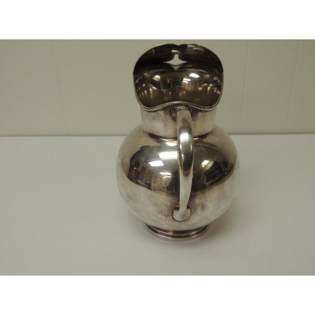 Hollywood Regency Polished Argentinian Sterling Silver Water Pitcher With Handle. For Sale - Image 3 of 5