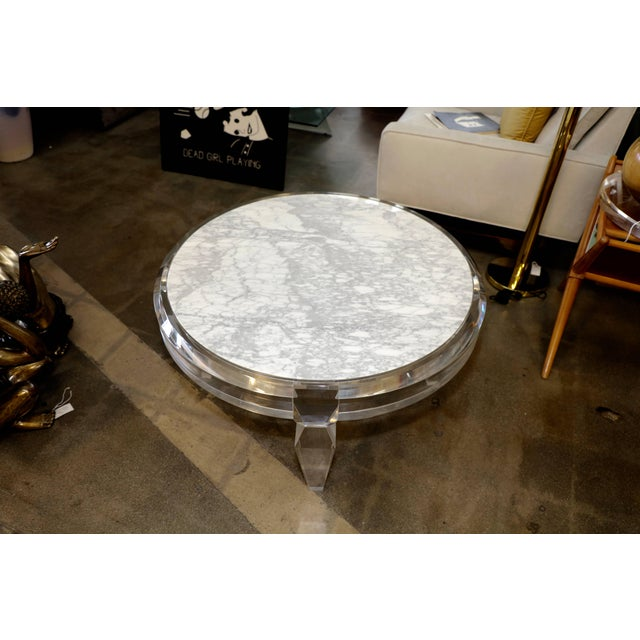 Brown Lucite and Marble-Top Coffee Table For Sale - Image 8 of 8