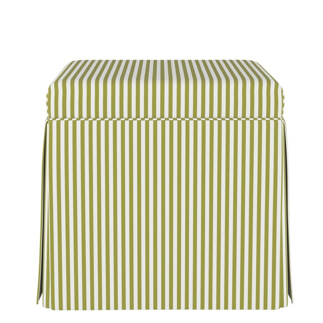 Skirted Storage Ottoman in Candy Stripe Olive Oga For Sale