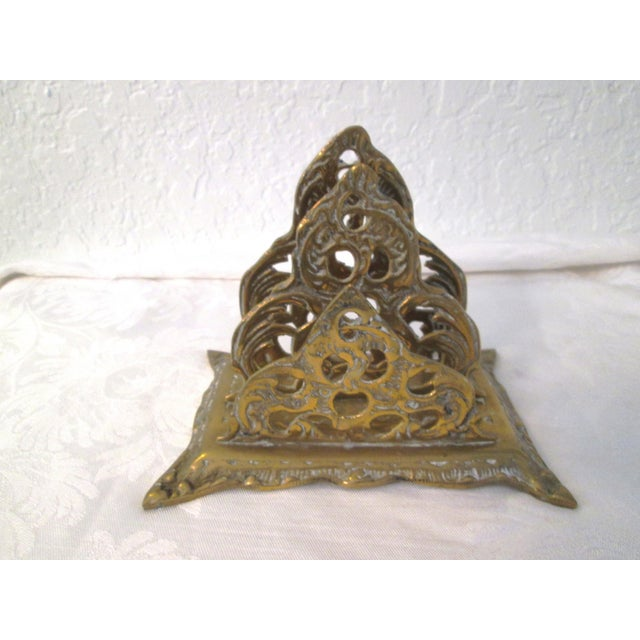 Offered is a vintage brass Art Nouveau design two slotted letter holder. Patina to brass adds to character of piece.