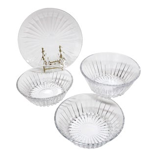 Val St Lambert Crystal Bowl & Plate Set - 4 For Sale