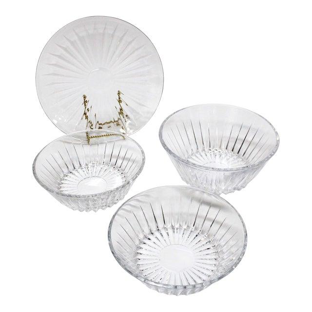 Val St Lambert Crystal Bowl & Plate Set - 4 For Sale