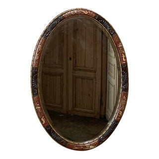 Antique Chinoiserie Oval Painted Wall Mirror For Sale