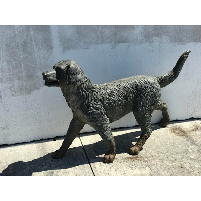 Vintage Bronze Dog Retriever For Sale - Image 4 of 9