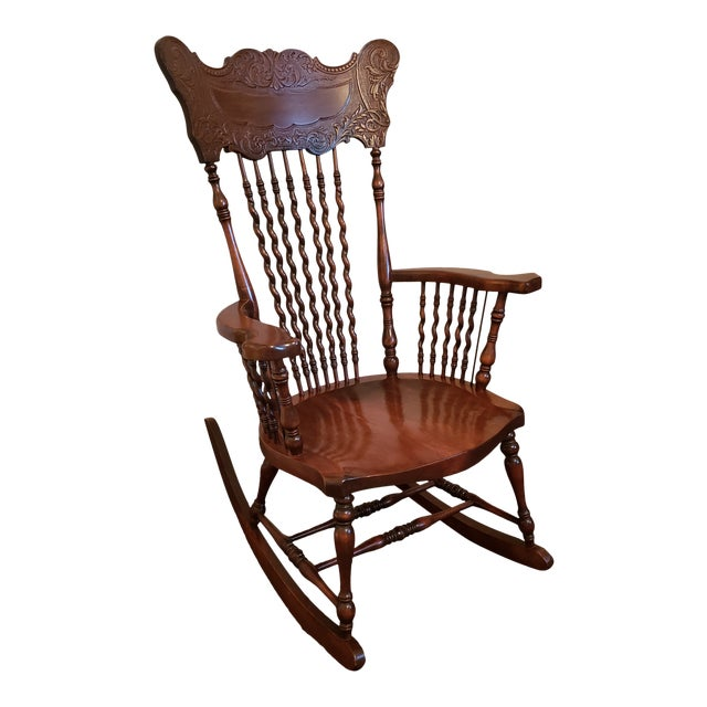 19th Century Carved Mahogany Twist Spindle Rocking Chair For Sale