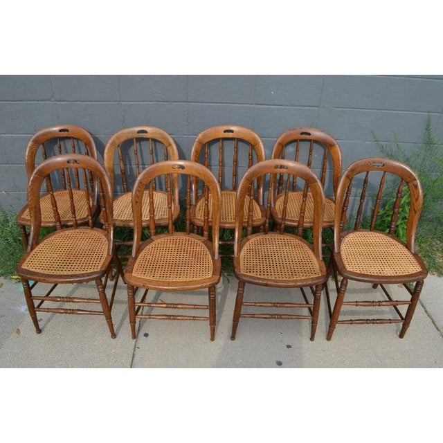 Dining Room Chairs With Caned Seats. Victorian Windsor Bow Back Style. Set of 8. For Sale - Image 4 of 13