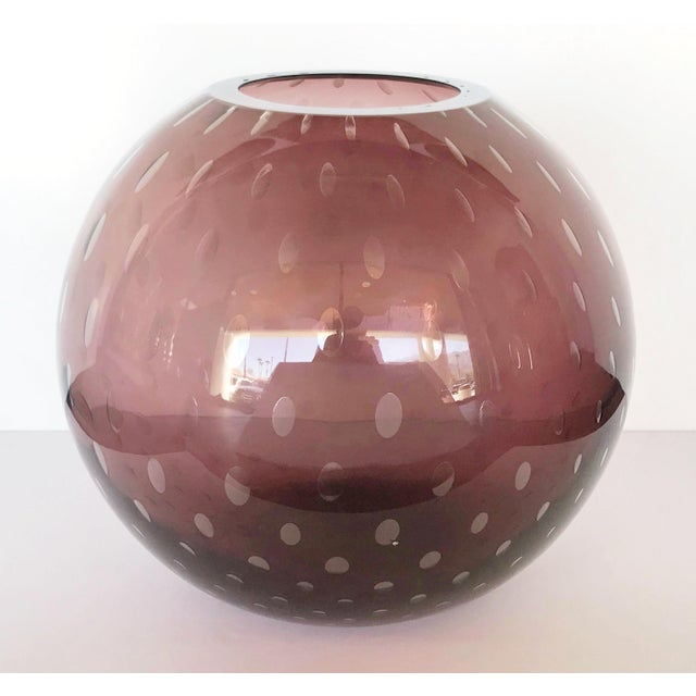 Italian Pulegoso Amethyst Murano Glass Vases by Alberto Dona - a Pair For Sale In Palm Springs - Image 6 of 11