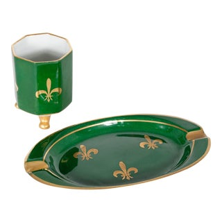 Mid 20th Century Emerald Green Limoges Cigar Set - a Pair For Sale