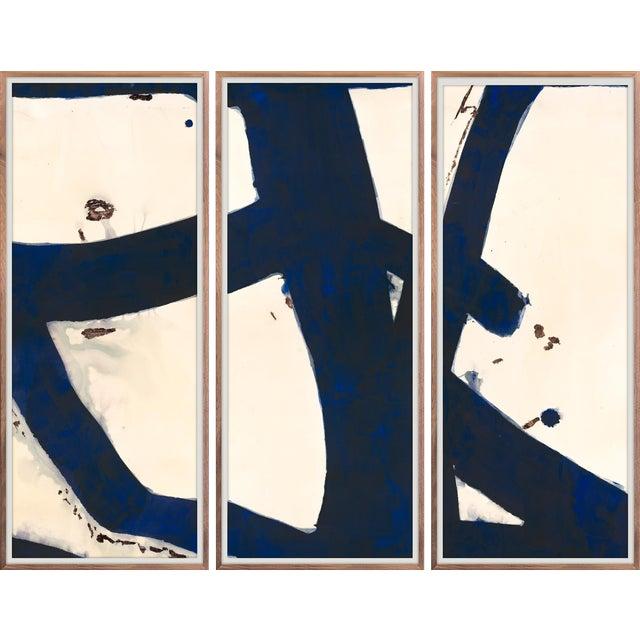 Malta Triptych Indigo Art Print in Walnut Frame For Sale