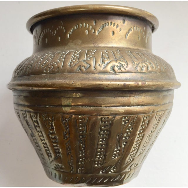 Middle Eastern Syrian Brass Bowl Hammered With Islamic Kufic Writing For Sale - Image 11 of 12