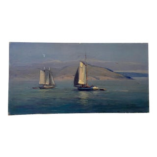 """""""Sailboats"""" Early 20th Century Impressionist Oil Painting For Sale"""
